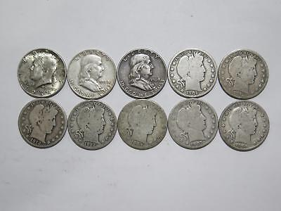 Barber Kennedy Franklin Half Dollar 50 Cents 90% Junk Silver Coin Collection Lot
