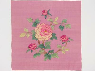 Antique Chinese Kesi Textile w/ Flowers, Two Sides, 19th C
