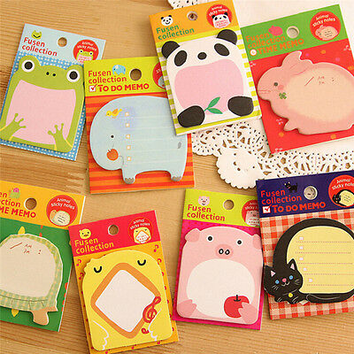 8Pcs Animal Cat Panda Cute Kawaii Sticky Notes Memo Pad School Supplies MZ