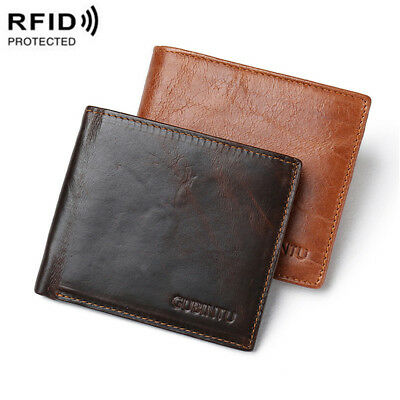Men's Genuine Leather Bifold Credit Card Wallet RFID Blocking Anti Theft Purse