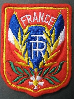 Vintage Travel Patch France  Shield Heraldic Embroidered Felt Flags
