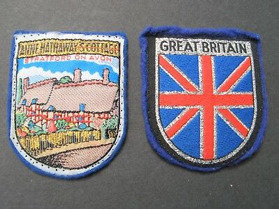 Vintage Travel Patches 2 Great Britain  Stratford On Avon Embroidered Felt Flag