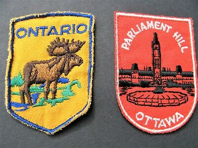 Vintage Travel Patches 2 Canada Ottawa  Ontario Parliament Hill Embroidered