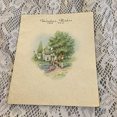 Vintage Greeting Card Valentine Victorian Home Tree