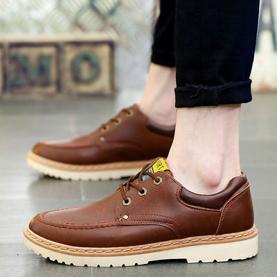 Men's Oxfords Lightweight Fashion Spring Leather Brock Shoes Sneakers British