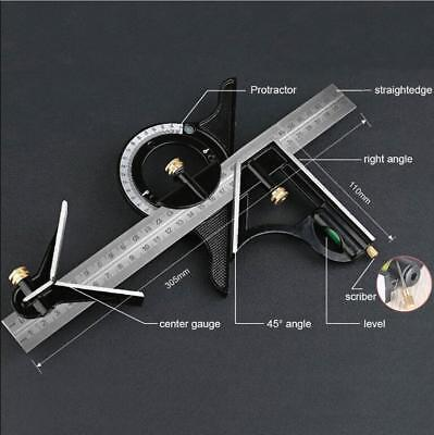 Combination Tri Square Set Angle Finder & Protractor Level Adjustable Measure