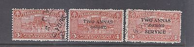 INDIA-TRAVANCORE-1939/49-4 CHUCKRAMS+OFFICIAL/SURCHARGE VARIETIES-$7-freepost