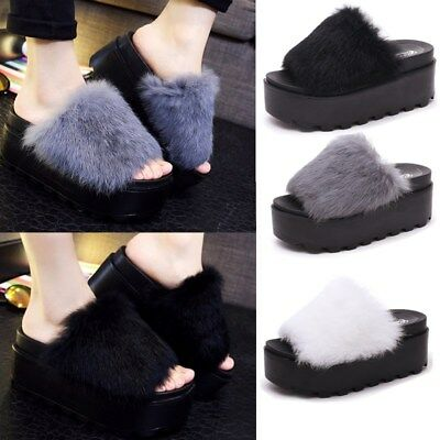 Women Ladies Open Toe Creepers Rabbit Fur Casual Slippers Wedge Heels Sandals