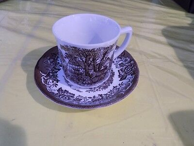 J&G Meakin Romantic England Ironstone Cup and Saucer, Brown
