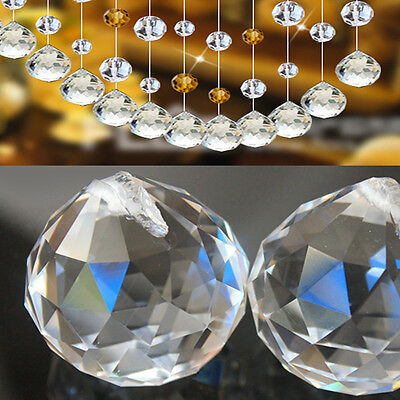 5Pcs Luxury Hanging Crystal Ball Clear 20mm Sphere Prism Rainbow Pendant Light