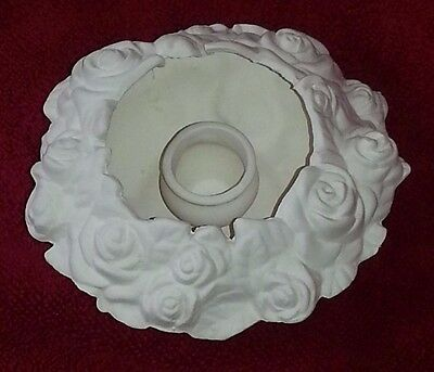 Ceramic Bisque Rose candle holder 120mm approx. Ready to Paint or Glaze.