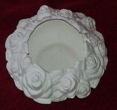 Ceramic Bisque Rose bowl 120mm approx. Ready to Paint or Glaze.