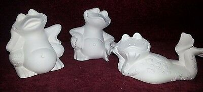 Ceramic bisque Trio of silly frogs. Approx 90 to 130mm. Ready to paint or glaze.