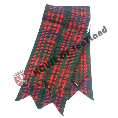 Men's Highland Scottish Kilt Hose Sock Flashes MacDonald Tartan Garter Pointed