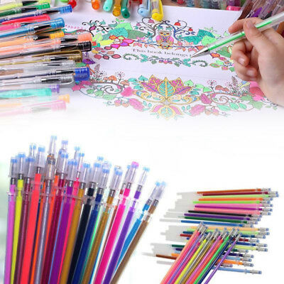 48 Colors Gel Pens Glitter Coloring Drawing Painting Craft Markers Stationery S
