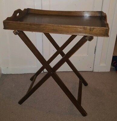 Vintage Antique Wooden Butlers Tray  And Folding Stand