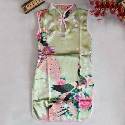 Chinese Qipao Baby Girl Kids Floral Peacock Cheongsam Dress Costume Green 2-3T