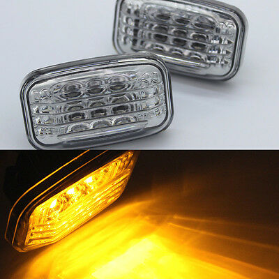 2x led side marker turn signal light amber clear For Toyota 84-07 Land Cruiser