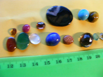 Lot of 14 Genuine Facet & Cab. Gemstones,natural mined stones. Mostly ring size.