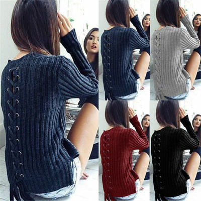 Women Knitted Lace Up Back Jumper Sweater Ladies Casual Sweater Knitwear Tops