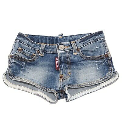 8034T short bimba DSQUARED2 cotone blu denim pantalone short kid