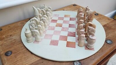 Soapstone hand carved chess set with African figurines