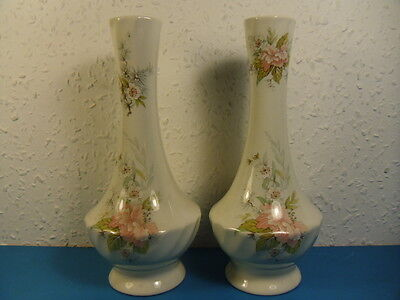 2 Vintage Melba Ware China Bud Vases.Staffordshire England.H.Wain.Pink.Ht. 8""