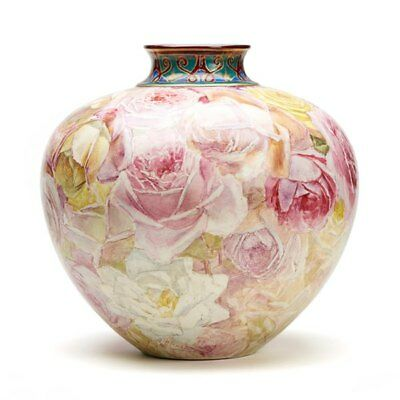 Clement Massier Rose Painted Vase Signed M Alexandy