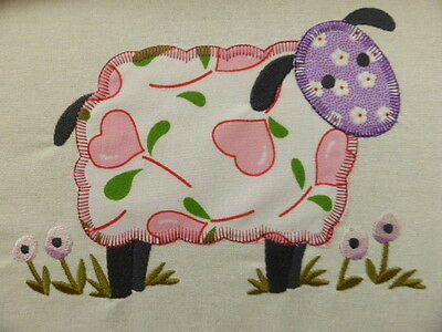 Funky Farmyard Sheep ~ Embroidered Applique Quilt Block/Panel