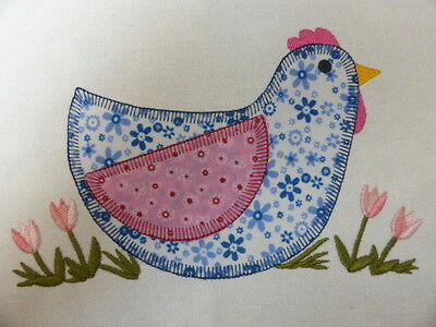Funky Farmyard Hen ~ Embroidered Applique Quilt Block/Panel