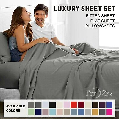 1000TC 4 Pieces Ultra SOFT Bed Linen Sheets Sets Single/KS/Double/Queen/King/SK