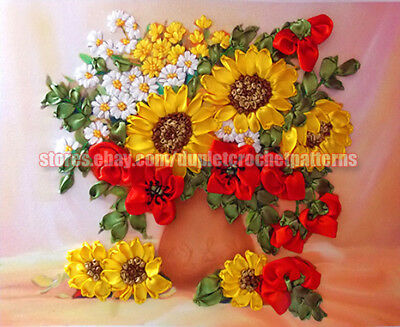 Summer Flowers ribbon embroidery DIY kit wall room decor