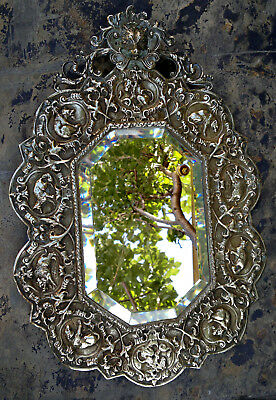 Rare Antique 19thC Black Forest Bronze Hunting Lodge Mirror Octagonal Bevelled