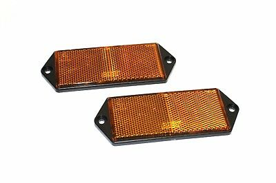 A PAIR OF SCREW ON AMBER REFLECTORS FOR TRAILERS,CARAVANS,HOT RODS,KIT CARS Etc