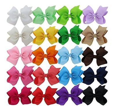5.5 Inch Baby Girls Big Huge Hair Bows Flowers Snap Clips Wrapped Alligator 20Pc