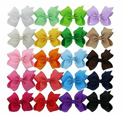 6 Inch Baby Girls Big Huge Hair Bows Flowers Snap Clips Wrapped Alligator 20 Pcs