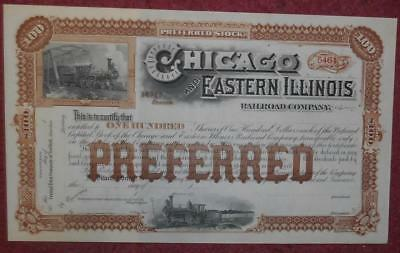31048 USA 18-- Unissued Chicago and Eastern Illinois Railroad 100 Pref. Stock.
