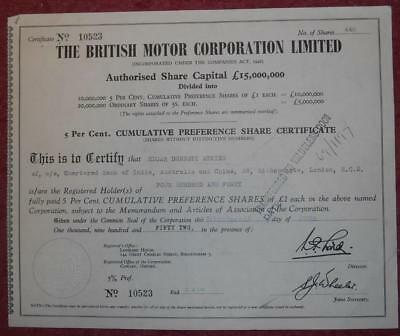 31055 GB 1952 British Motor Corporation Cumulative Preference shares certificate