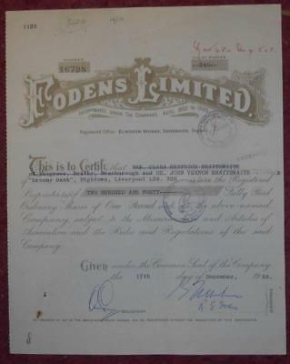 31057 GB 1968 Fodens Limited 240 Odinary Shares certificate