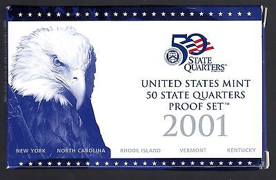 2001 U.s. 50 State Quarters (S) Proof Set In Mint Cond. ( Ny, Nc, Ri, Vt, Ky)