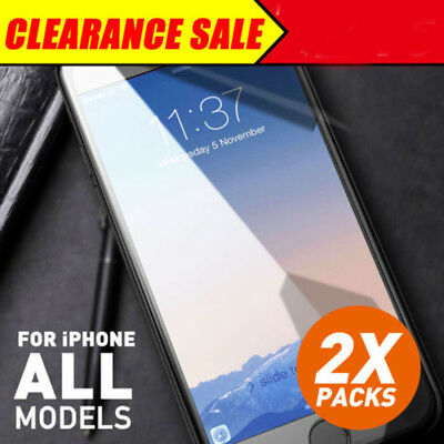 2X New Genuine Tempered Glass Screen Protector for Apple iPhone 8 7 Plus 6S 5