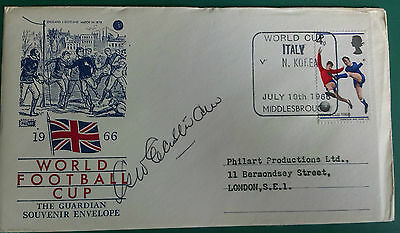 1966 World Cup Signed First Day Cover - George Eastham - Italy V N.korea @ Mboro