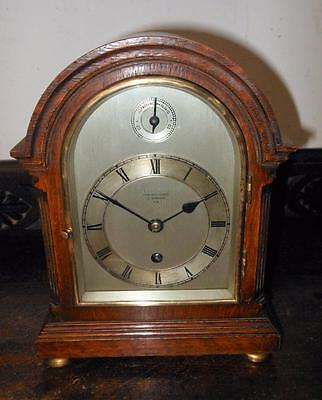 miniature oak cased timpiece brcket clock signed G J ,RETAILED IN NEWMARKET