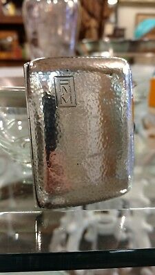 Antique Art Deco CW English sterling silver cigarette case~Hammered~58g