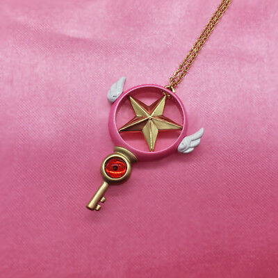 Card Captor Sakura The Clow Magic Star Wand Necklace Anime Cosplay Pendant Gift