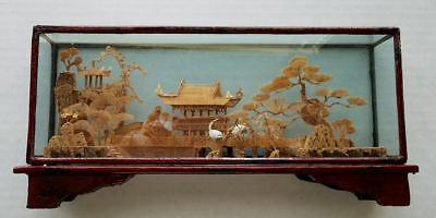 Vintage Chinese San You Cork Carving Diorama Art Sculpture - New Old Stock (NOS)