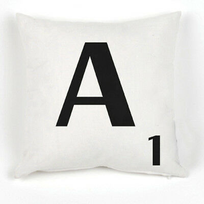 New White Scrabble Filled Cushion Covers With Inners Alphabet Letters A - Z