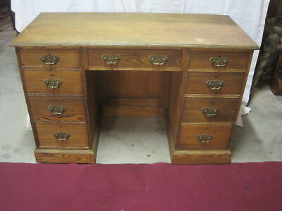 """Antique Oak 9 Drawer Knee Hole Writing Desk 48""""W Dove Tail Solid Wood"""