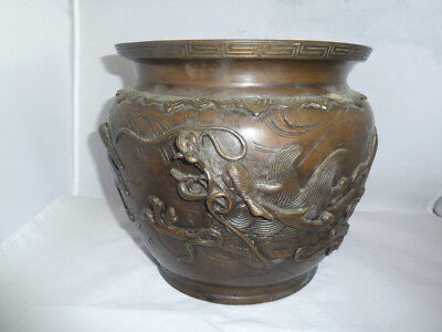 Large 19thC Chinese Bronze ? Jardiniere or Censer with Dragons & Cranes- Signed