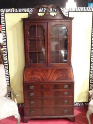 Antique Flame Mahogany Secretary,  Desk, Bookcase American Eagle On Top